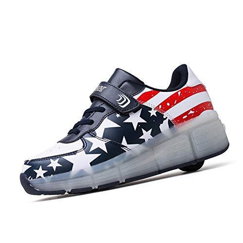 WXBYDX Automtica Ruedas Ajustables LED Zapatillas con Luces Ruedas Color Deporte Zapatos De Skate Roller Deportivos Zapatos Trainers Monopatn Sneaker para Nios Nias, Rosa, Talla 28-40blue-37