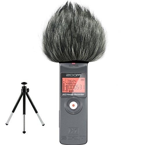 First2savvv TM-H1-E01G6 Micrófono Externo Peludo Parabrisas Manguito Para Grabadores digitales para Zoom H1 + Mini trípode
