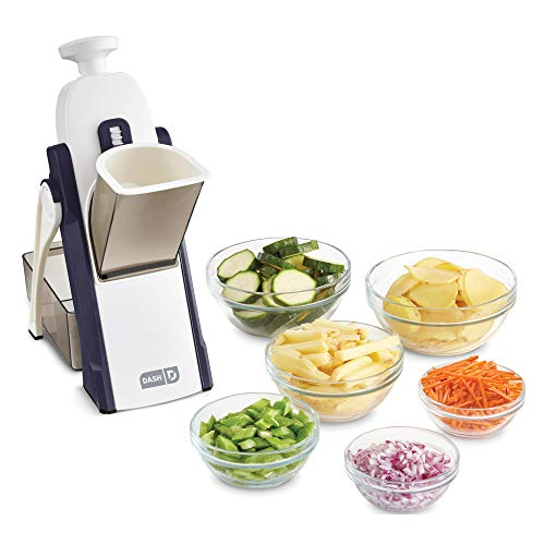 Dash Safe Slice Mandoline Slicer, Julienne + Dicer for Vegetables, Meal Prep & More with 30+ Presets & Thickness Adjuster - Midnight Navy