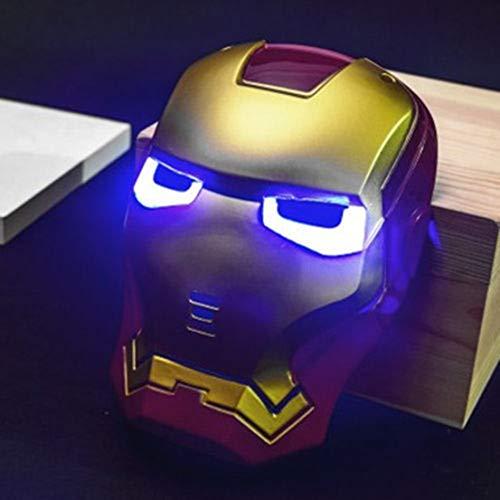 MODRYER Spiderman-Maske mit Lichtern Iron Man Kopfbedeckung Partei-Leistungs-Props für Karneval und Halloween glühenden Creative Kids glühenden Helm Spielzeug,Iron Man