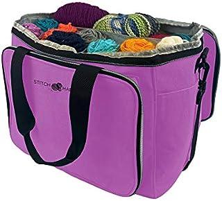 Stitch Happy Yarn Tote (Lilac) Large Yarn Bag, Crochet Bag, Yarn Storage, Crochet Storage