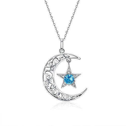 Maan en Blauwe Ster Romantische 925 Sterling Zilver Sparkling Maan En Ster Kettingen Hangers voor Vrouwen Mode Ketting Sieraden Gift