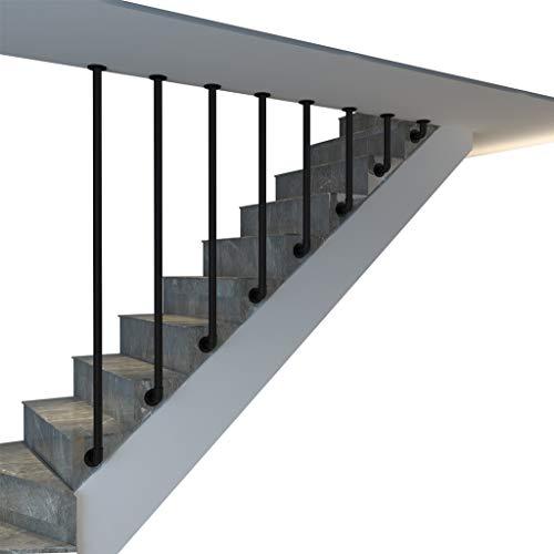 YUDE Pasamanos de escalera tipo L de hierro forjado, pasamanos de tubo galvanizado redondo negro (envíenos datos de tamaños específicos después de la compra)
