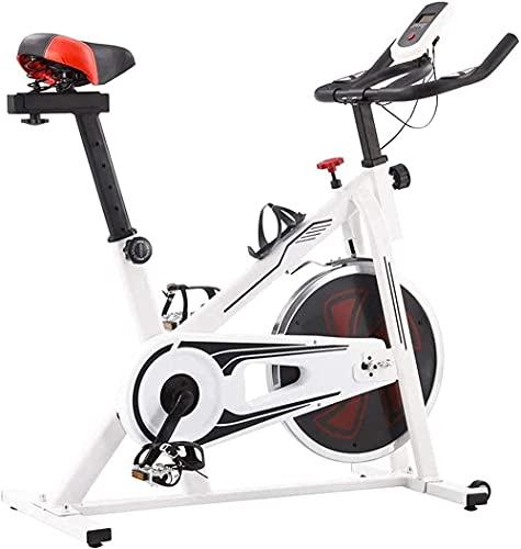 Inicio Ejercicio Bicicleta Interior Ciclismo Spinning Equipo de Fitness Hogar con Pantalla LCD Resistencia Ajustable 15 Kg Ajustable Volante y Soporte Teléfono-Blanco y Rojo