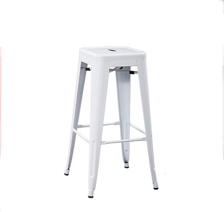LRZS-Furniture Bar Chair, Bar Chair, Bar Stool, High Chair, Iron Dining Chair, Folding Coffee Chair, Iron Stool, Dining Room Iron Chair (color   White)