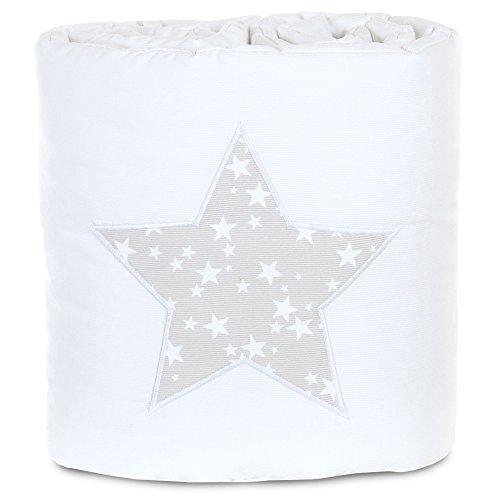 babybay Babybay_100832 Protector de cuna de colecho piqué, adecuado para el modelo Original, blanco aplicación estrella gris perla
