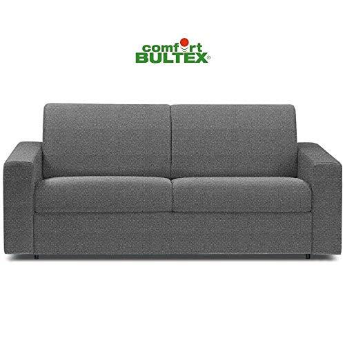 Canapé Convertible rapido CRÉPUSCULE Matelas 140cm Comfort BULTEX® Tissu Tweed Fashion Gris foncé