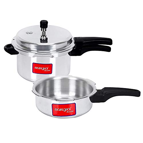 Surya Accent Pressure Cookers (Combo of 2, Silver)