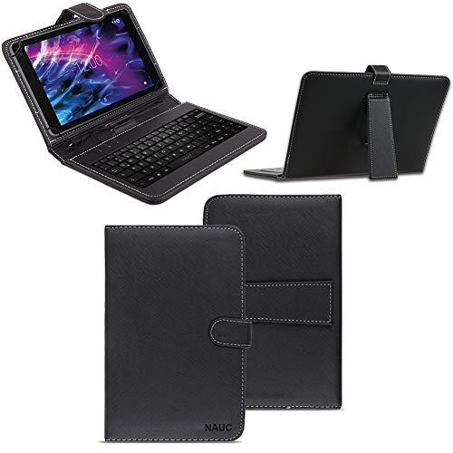 NAUC Tastatur Tasche für Medion Lifetab S10351 S10352 Keyboard USB Hülle QWERTZ Cover