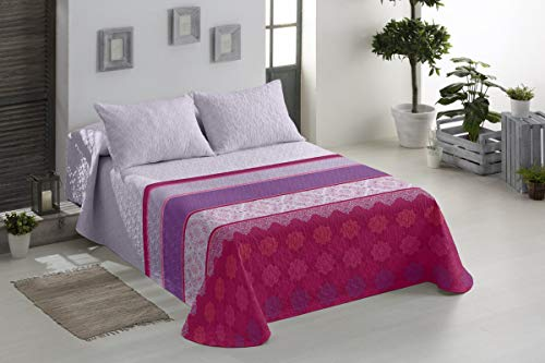 BENEDETTAHOME Colcha Bouti Primavera-Verano Modelo Livelpool Rosa con cuadrante Decorativo. Tamaño 180x265 cm + 1 cuadrante de 50x70 cm. Colcha para Cama de 90.