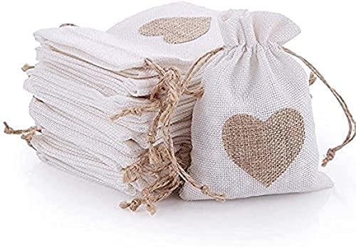 Notens - 30 bolsas de yute con cordón y diseño de corazón...