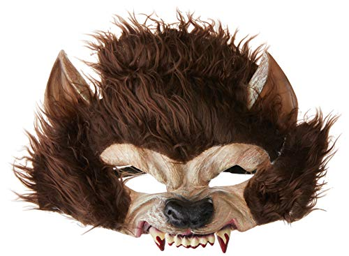 Smiffys Masque loup garou, Marron, Demi visage, latex Unique