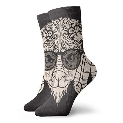 Calcetines para mujeres y hombres, tipo de ovejas, con cuernos, gafas, gafas de sol, calcetines deportivos de 30 cm