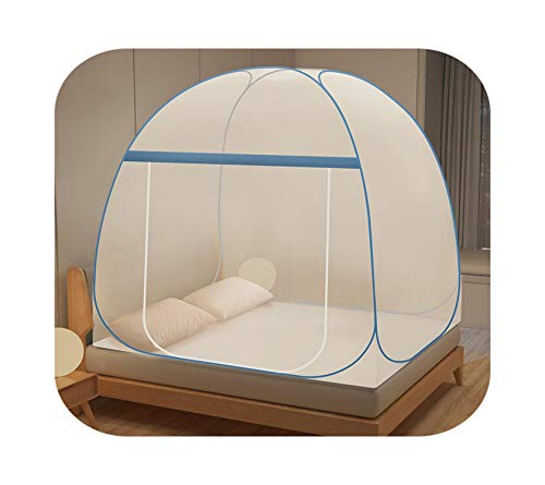 HOT-house Wave Pattern Style Yurt Mosquito Net 1.5m/1.8m Mosquito Net Student Dorm Room 1m Bed Mosquito Net Outdoor Fold Mosquito Net-jianyi Blue-1.8m (6 Feet) Bed