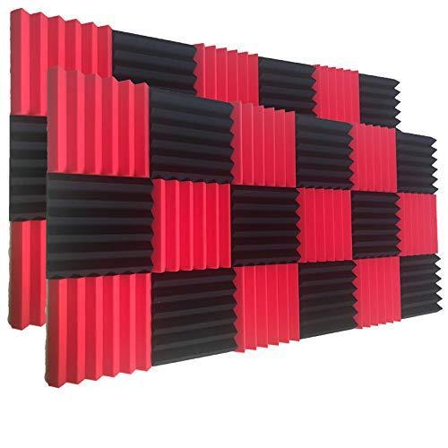 24 Pack Wedge RED/Zwart akoestische geluidsisolatie Studio Foam Tegels 2x12x12