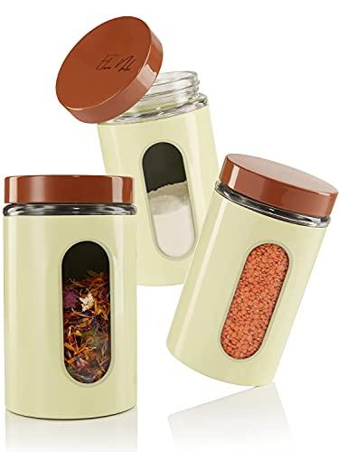 Elwin Neiles® ☀️ Vorratsdosen Glas OHNE Plastik [1L/3er Set] Mit Schraubverschluss & Sichtfenster - Glasbehälter mit Deckel für Tee & Kaffee
