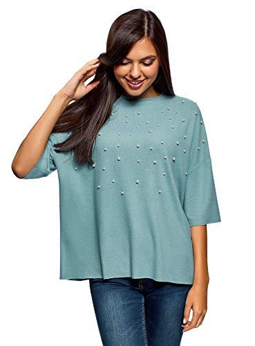 oodji Ultra Mujer Jersey Oversize con Perlas Artificiales y Borde Inferior y Mangas No Elaborados, Turquesa, ES 42 / L (Ropa)