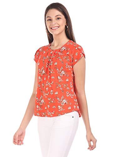 Cherokee Women's Regular fit Shirt (CDWWWTO20040O05_Orange Medium)