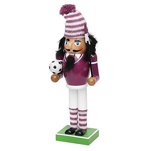 Dekohelden24 Nussknacker als Fussballfan mit lila/weissem Outfit, ca. 26 cm