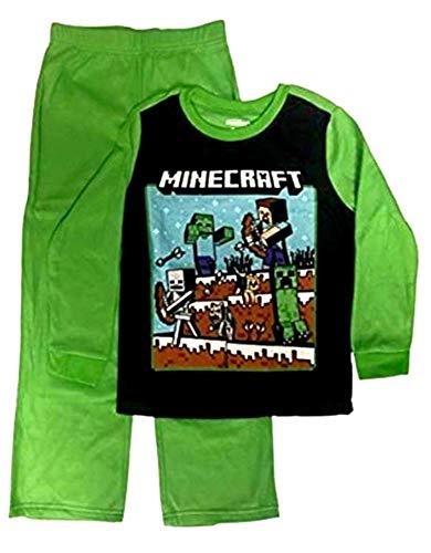 Minecraft Pajamas Boys 2-Piece Steve Fighting Sleep Set,Black Green,10-12