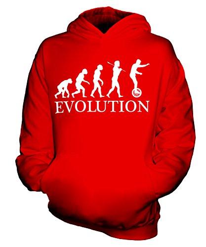 Candymix Einrad Evolution des Menschen Unisex Kinder Jungen/Mädchen Kapuzenpullover, Größe 5-6 Jahre, Farbe Rot