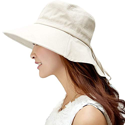 Comhats Womens Sun Hats Packable UPF 50 Wide Brimmed with Neck Flap Summer Spring UV Cotton Safari Gardening Walking Hat with Chin Strap Beige 58-59CM
