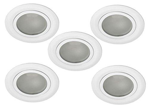 5er Set Möbel Einbaustrahler Möbeleinbauleuchte weiß satinierte Front für 12V G4 LED geeignet AP