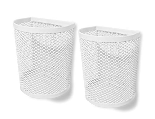 Magnetic Pen/Pencil Mesh Metal Basket/Holder/Container/Storage/Organizer for Kitchen/Refrigerator/Fridge/Whiteboard/Dry Erase/File Cabinet/Locker (White)(Set of 2)