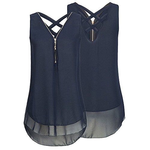 Shinehua Dames chiffon tank top back zoom gelakt ritssluiting vest T-shirts tops elegante camisole bovenstuk zonder mouwen blouse shirt tanktop zomertops blouses