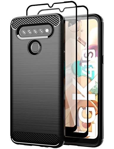 Teayoha hülle für LG K41s/LG K51s hülle, mit Bildschirmschutzfolie aus gehärtetem Glas, Karbonfaser, kratzfest, stoßdämpfend, weiche TPU-Schutzhülle, Handyhülle, Schwarz