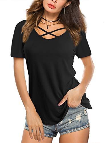 Beluring Bluse Damen Casual Tunika Tops V-Ausschnitt Solides Criss Cross T-Shirt, B-aschwarz, 34-36 (Herstellergröße: S)
