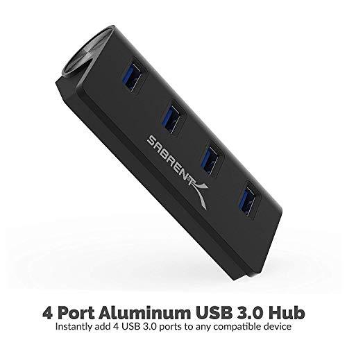Sabrent USB HUB - Premium 4-Port USB 3.0 Schwarz Aluminum Hub (76cm Kabel) für iMac, MacBook, MacBook Pro, MacBook Air, Mac Mini oder einem beliebigen PC [Schwarz] (HB-MC3B)