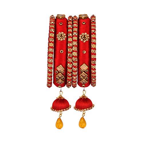 Efulgenz Indisches Armreif-Set mit Zirkonia-Kristallen, Kundan-Seidenfaden, Quasten, Armreif, Schmuck für Frauen und Mädchen (6 Stück)