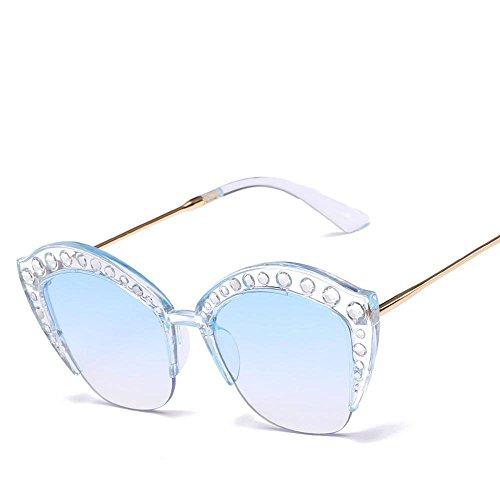 Luziang Ojo Gafas Diamante Mosaico Marco señora Anti-Ultravioleta Gafas de Sol de Tendencia de Europa y Las Gafas de Sol de Estados Unidos,Conducción Viajar Deporte al Aire Libre