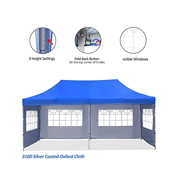HYD-Parts Outdoor 10×20 Ft Pop up Canopy Party Tent,Wedding Gazebo Tents (Four sidewalls, Blue)
