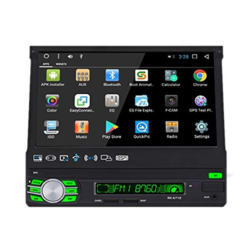 Podofo Car Radio Android GPS 1 DIN Auto Retractable Bluetooth Car Radio 7 '' HD Touch Screen Multimedia Player With Rear View Camera,Support WiFi/mirror link/RDS/DVR/AUX/USB/SD/TF