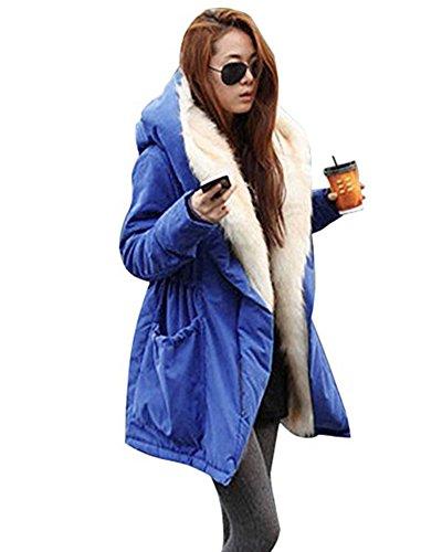 Minetom Damen Mantel Kordelzug Mit Kapuze Beiläufig Verdicken Plüsch Gezeichnet Langer Wintermantel Winterjacke Winterparka Outerwear Blau DE 44