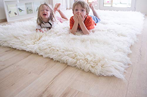 Steffensmeier Flokati 3000 Teppich natur   original griechischer Hirtenteppich Hochflor   100% Schurwolle aus Neuseeland, Größe: 195 cm rund
