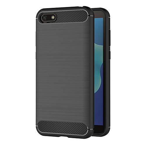 AICEK Huawei Y5 2018 Hülle, Schwarz Silikon Handyhülle für Huawei Y5 2018 Schutzhülle Karbon Optik Soft Hülle (5,45 Zoll)