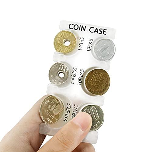スライド収納式携帯コインホルダー、半透明仕様なので6種のコインの2,775円(計27枚)を素早く的確に片手で取り出す事が出来ます(45 x 92 x 12 mm)