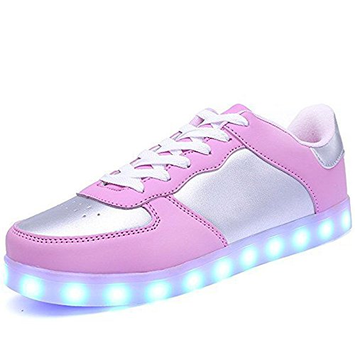 Único LED Light Up Sneakers para Hombre para Mujer Luminous Canvas Shoes USB Intermitente Sneakers para niños Niños Niñas(Rosado EU 31)