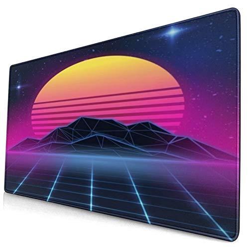 SURERUIM Alfombrilla Raton,Electronic Neon On New Retro Wave 80 Party Miami 90S Beach Retrowave Design,Alfombrilla Gaming Alfombrilla para computadora con Base de Goma Antideslizante,750×400×3mm