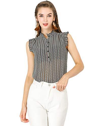 Allegra K Blusa con Volantes Trabajo Sin Mangas Botón Arriba Camiseta Estampada Casual para Mujeres Blanco Negro XL