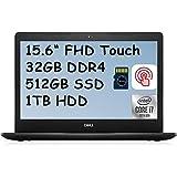 2020 Dell Inspiron 15 3000 3593 Premium Business Laptop I 15.6' FHD Touchscreen I 10th Gen Intel 4-Core i7-1065G7 I 32GB DDR4 512GB SSD 1TB HDD I MaxxAudio WiFi Win 10 + Delca 32GB Micro SD Card