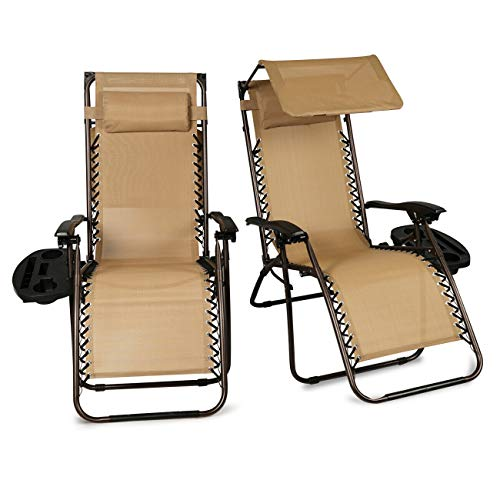 Lares & Penates Set of 2 Beige Zero Gravity Folding Lounge Chair with Cup Holder and Canopy Sun Shade, Recliner Chairs for Poolside, Beach, Garden, Backyard, Outdoor Patio Furniture