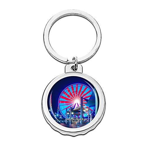 Hqiyaols Keychain Estados Unidos América Myrtle Beach Gorra Abrebotellas Llavero Creativo Cristal...
