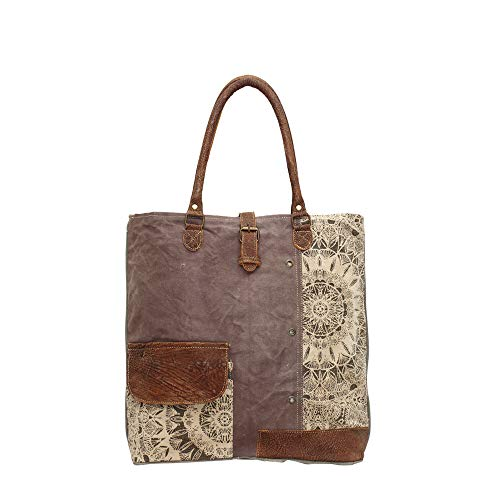 Myra Bags Floral Side Upcycled Canvas Tote Bag S-0733, Tan, Khaki, Brown, One_Size
