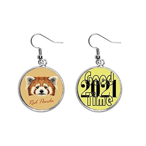 Ohrringe mit Panda-Motiv, Kastanienrot, 2021