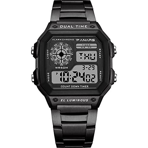 Montloxs Reloj Deportivo Digital para Hombre Modo de Hora Dual Relojes de Negocios Masculinos Fecha Semana Reloj Despertador Retroiluminación Cuenta atrás 50M Impermeable Pulsera de Moda para Hombres