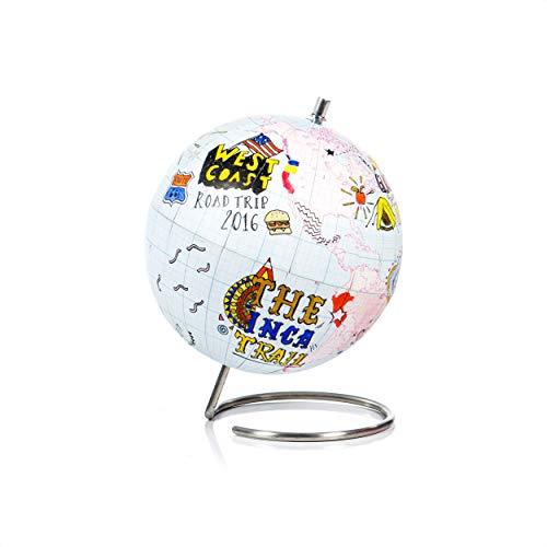SUCK UK Kleiner Globus zum Ausmalen, Karte und Edelstahl, Mehrfarben